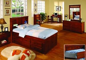 Twin Captains Bed with Bookcase Headboard and Six Drawers