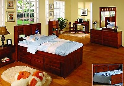 Twin Captains Bed With Bookcase Headboard And Six Drawers Ebay