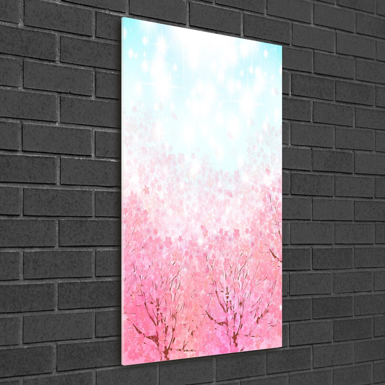 Wandbild Druck auf Plexiglas® Acryl Hochformat 50x100 Kirschblüten