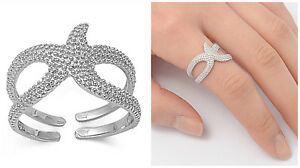 Sterling-Silver-925-PRETTY-STARFISH-DESIGN-SILVER-BAND-RING-14MM-SIZES-4-13