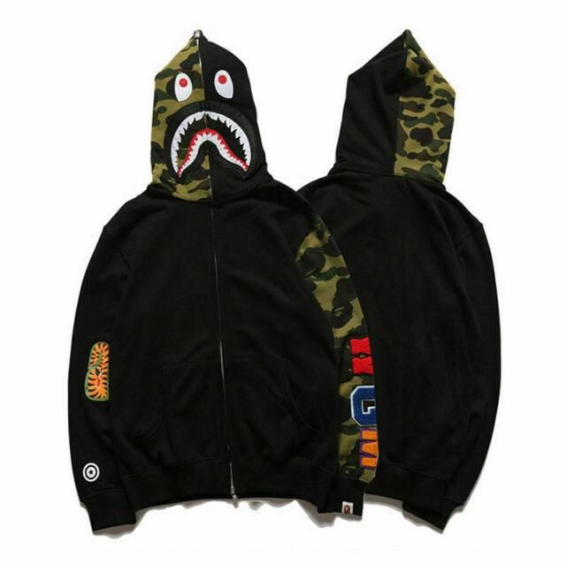 A Bathing Ape BAPE Men/'s Shark Jaw Camo Full Zipper Hoodie Sweats Coat Jacket