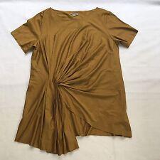 COS Front Side Drape Pleat Short Sleeve Top Blouse szL