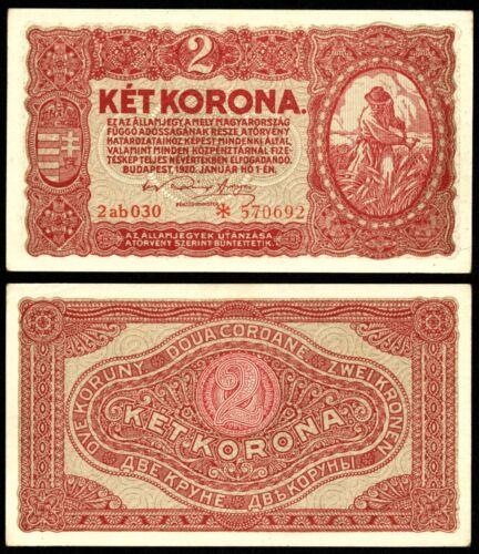 HUNGARY 2 KORONA 1920 P#58 BANKNOTE serial with STAR Ungarn aUNC