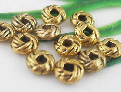 100Pcs Gold Tibetan Silver Bali Spacer Beads 6x3mm