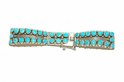 Beautiful Navajo 36 stone 3 Section Watch Bracelet Sterling Silver Large