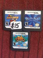 Three(3) Nintendo DS games Mario Hoops, Brain Age 2 + Tak game Nice L@@K! DS