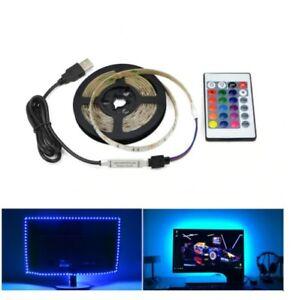 j-STRISCIA-USB-LUCI-LED-RETROILLUMINAZIONE-TV-DESKTOP-PC-HDTV-SMART-TELECOMANDO