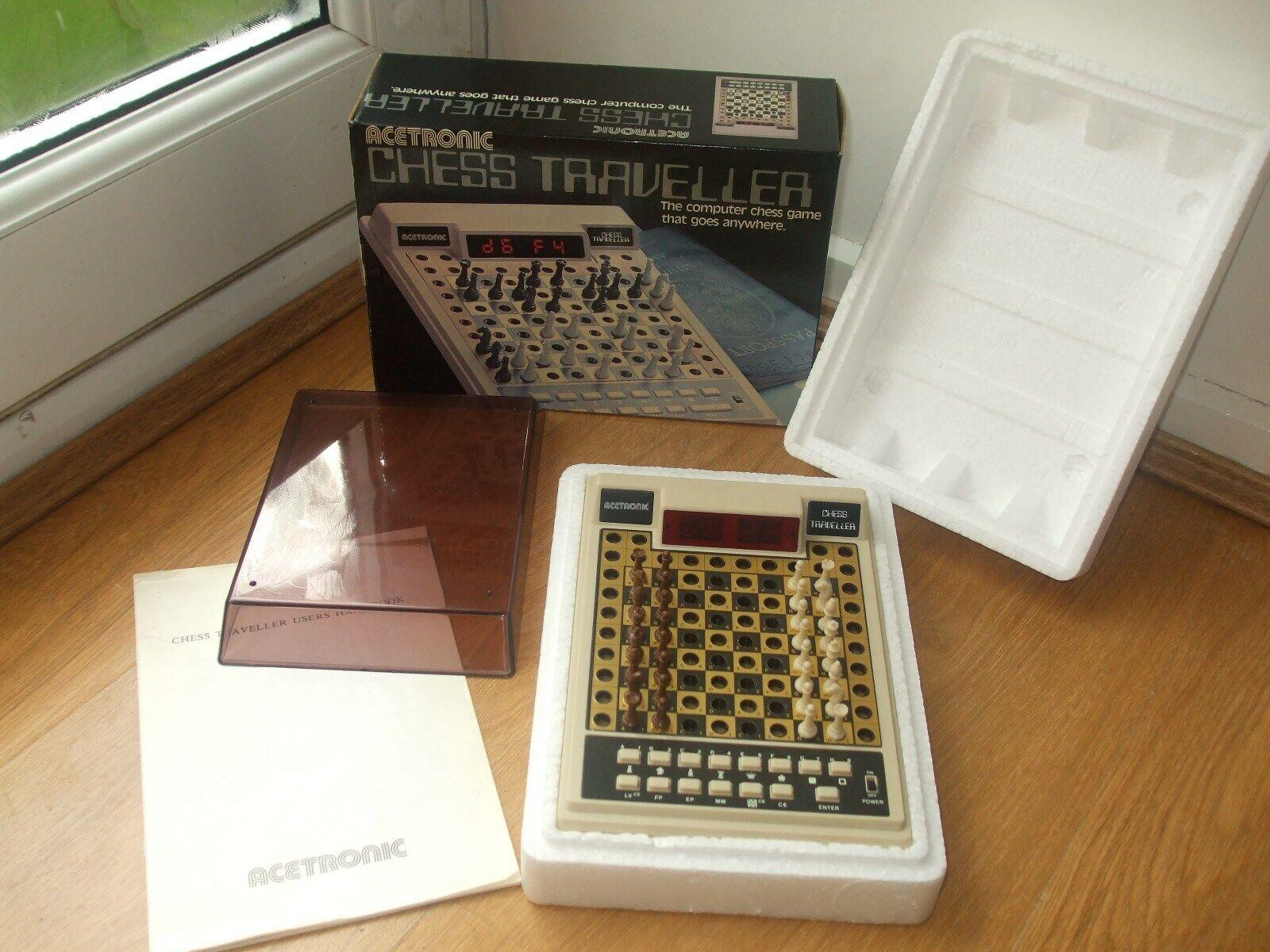 Nueva computadora de ajedrez viajero década de 1970 ACETRONIC juego de ajedrez 100% completado y trabajo