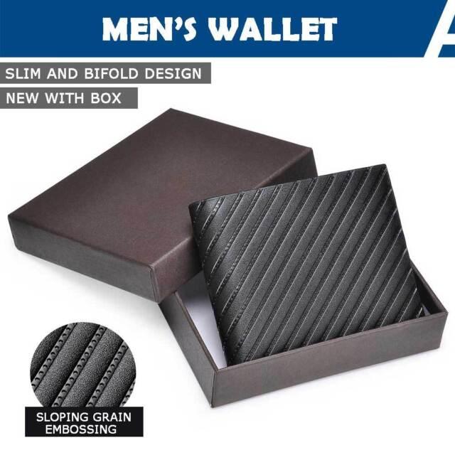 Mens Wallet PU Leather Credit ID Card Holder Genuine Slim Bifold Purse Business