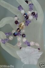 VINTAGE AMETHYST NUGGETS,MOONSTONE,FACETED AB BEADS,FLOWER NECKLACE/ PENDANT