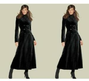 Full-Length-Wool-Blend-Women-Coat-Double-Breasted-Military-Jacket-Trench-Outwear