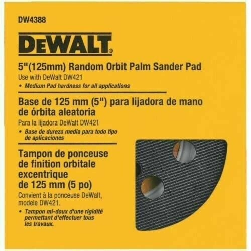 DeWalt DW4388 8-Hole Hook and Loop 5 Inch Sanding Disc Backing Pad. Available Now for 24.96