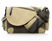 Mens Coffee Leather & Canvas Satchel Messenger Travelling Style Bag Mbag6 7