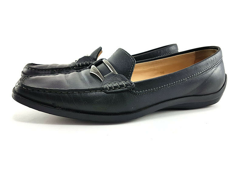 TOD's Black Leather Moccasins Loafer Loafer Loafer Women's shoes Size US 6, EU 36 430c19