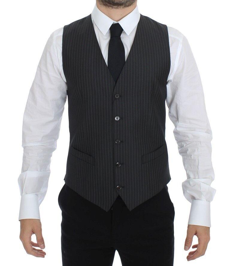NEW 460 DOLCE & GABBANA Vest Waistcoat grau Striped Wool Silk IT44 / US34 /XS