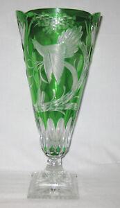 """Bohème Emerald 16.5 """"t. Green Cut Pour Claire Piédestal Trophée Vase C. 1900-afficher Le Titre D'origine Ysrhmfxo-07234711-441569257"""