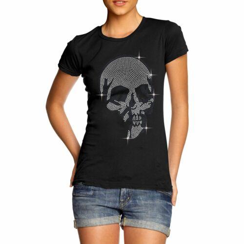 Twisted Envy Women/'s Outlaw Skull With Guns Diamante Rhinestone T-Shirt