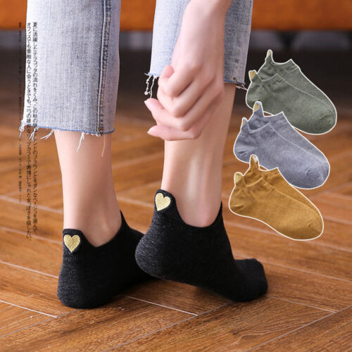 Spring Summer Cotton Soft Short Ankle Socks Heart Embroidered  Low Cut