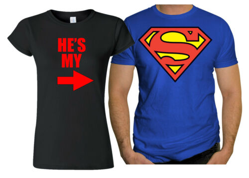 Couple Amour Assorties T Shirt Cadeau Noël Valentin Batman Beauté Mme.