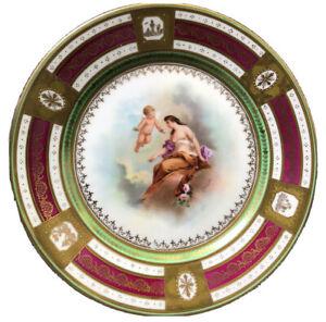 Antique-Royal-Vienna-HAND-PAINT-Cherub-Venus-Angel-Maiden-Figure-Raise-Dot-Plate