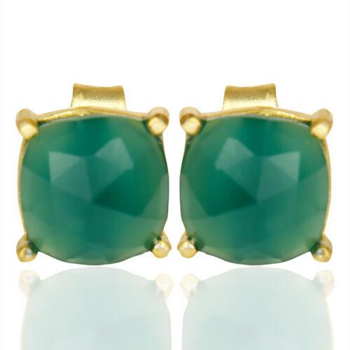 Rose Cut Prong Set Green Onyx Gemstone 7mm Stud 925 Silver Women/'s Earrings