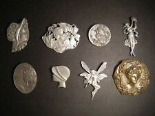Super Retro Group of 8 Pewter or Tin Brooches and Pins from the 1940s to 1980s.