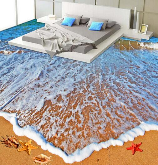3D Tide Beach Shell 83 Floor Wall Paper Murals Wall Print AJ WALLPAPER UK Lemon