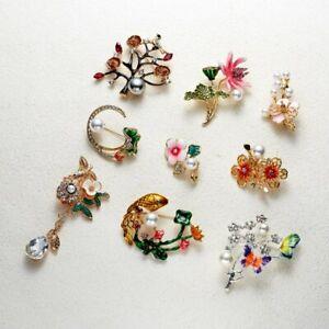 Charm-Crystal-Flower-Brooch-Pin-Women-Rhinestone-Bouquet-Wedding-Jewelry-Gift