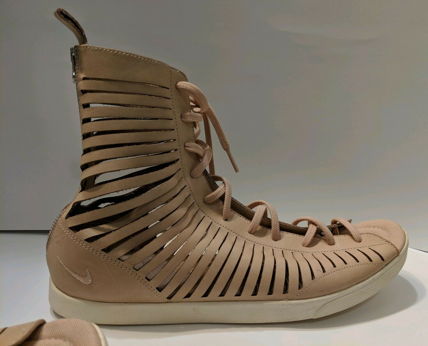 Nike Racquette Slice Gladiator shoes Womens SZ 12 Beige Nude Lace Up Back Zip