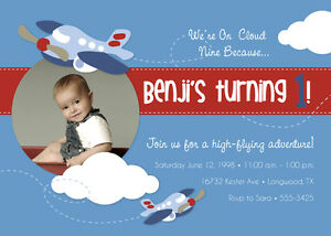 Image Is Loading Airplane Themed Birthday Party Invitations FREE SHIPPING