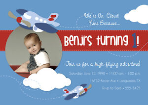 Airplane themed birthday party invitations free shipping ebay image is loading airplane themed birthday party invitations free shipping filmwisefo