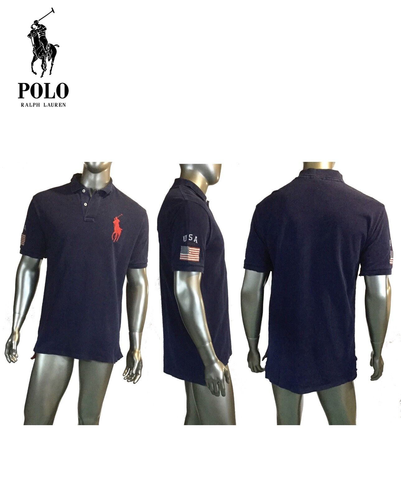Vintage Ralph Lauren, Mens 90's Navy Polo Shirt Rugby,USA Big Pony  L