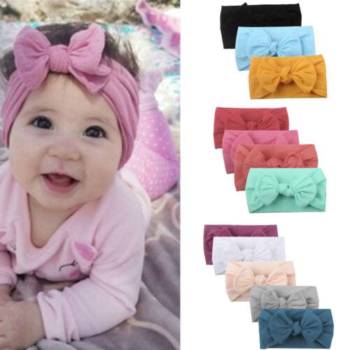 3 4 5PCS Girl Baby Infant Turban Solid Headband Hair Band Bow Accessory Headwear