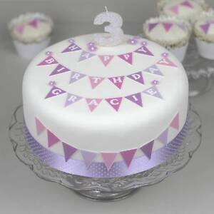 Image Is Loading Personalised Birthday Cake Decoration Kit Topper With Bunting