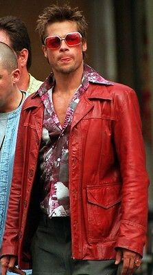 FIGHT CLUB Brad Pitt REAL LEATHER JACKET FC CAPPOTTO ROSSO-Tutte le Taglie