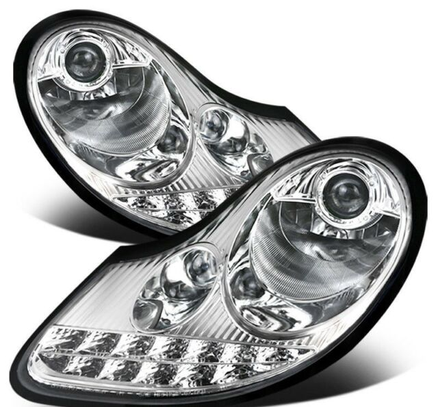 Porsche Boxster 986 996 MK1 Chrome LED DRL Projector Headlights set or pair of 2