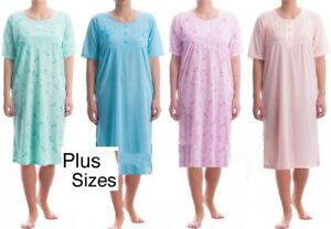 Details about Ladies Short Sleeve Long Nightdress Summer Nighties Cotton  Rich Plus Size M-6XL 25daad38a