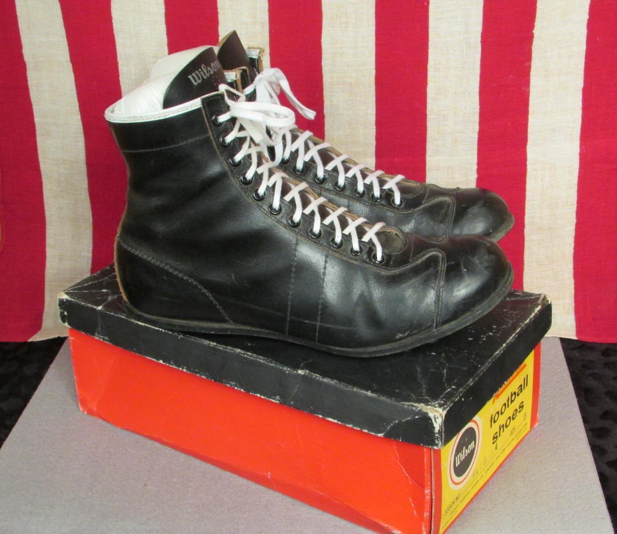 Vintage Wilson pelle Nera Scarpe da Calcio Tacchetti Riteweight