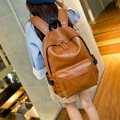 Retro Men's Leather Solid Backpacks Simple Bookbags Casual Travel Bags NEW