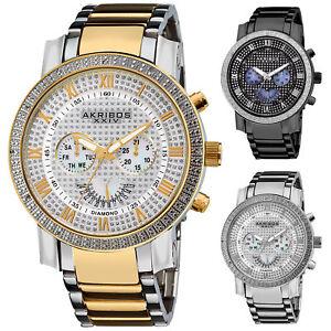 Men-s-Akribos-AK894-Multi-Function-Retrograde-Day-Date-Diamond-Bezel-Steel-Watch