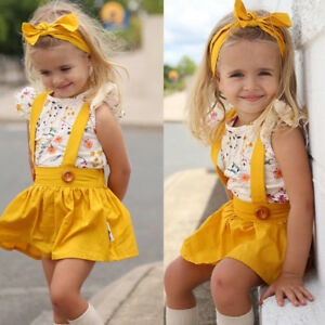 Infant-Baby-Toddler-Girl-Dress-Set-Solid-Overalls-Skirt-Tops-Headband-Outfit