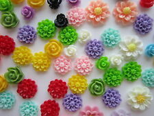 60 x Opaque Resin Cabochons Flower flat back Decorations mixed sizes shapes