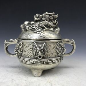Exquisite-MANUAL-SCULPTURE-DRAGON-STATUE-TIBET-SILVER-INCENSE-BURNER-XUANDE-MARK