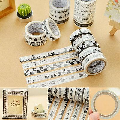 10Pcs Cute DIY Washi Paper Tape Adhesive Sticky Decorative Sticker Scrapbooking