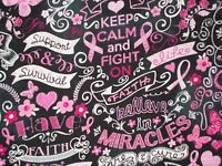 Breast Cancer Quilting Fabric Timeless Treasures Cotton Fat Quarter, By The Yard