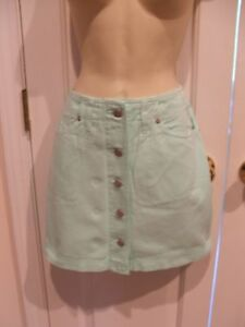 new-pk-frederick-039-s-of-hollywood-mint-jeans-style-skirt-made-in-USA-size-9-10