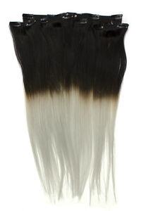 Clip-In-Remy-Echthaar-Extensions-Dip-Dye-10-teilig-100gr-50cm-Ombre-1b-grau