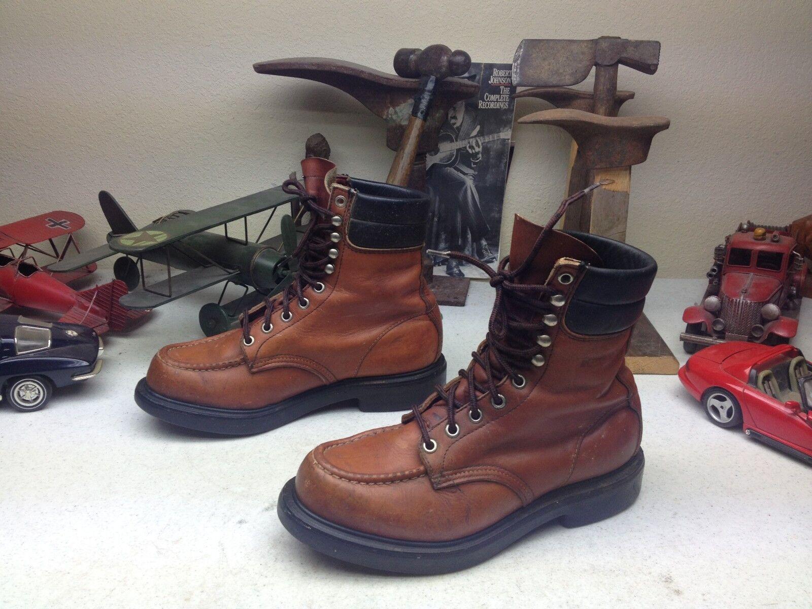 Vintage rojo WING USA Rojizo de Cuero con Cordones ingeniero jefe tarea Trabajo botas 6.5D
