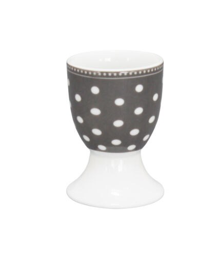 Krasilnikoff Eierbecher PUNKTE Dunkelgrau Weiß Porzellan grau weißen Punkten