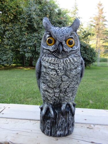 "16.5"" PLASTIC OWL DECOY FIGURINE HOOTER STATUE WISE OLD OWL NEW"